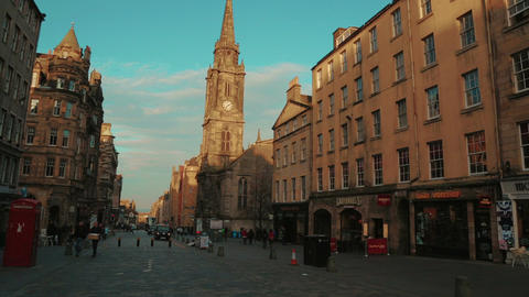 Panning shot of the Royal Mile in Edinburgh, Scotland, UK Footage