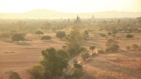 Ancient Buddhist temples at sunrise in Bagan, Myanmar Footage