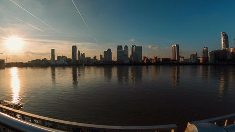 Panoramic fisheye view of the Canary Wharf financial district in London, England Footage