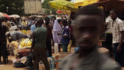 African crowded street marketplace scene Footage
