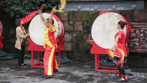 people perform traditional dance with drum in Fenghuang city,China Footage