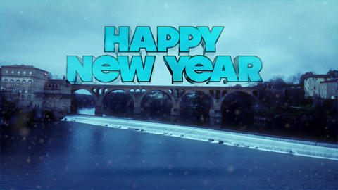 Happy New Year - Winter Landscape With Bridge Above Frozen River Footage