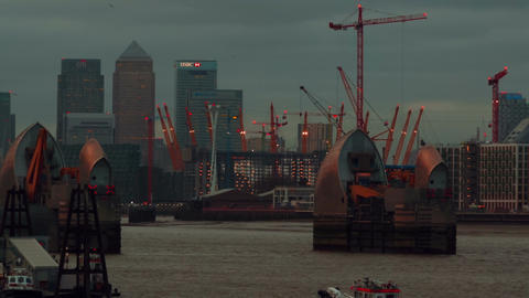 Panoramic view of the Thames Barrier facility and the Canary Wharf financial cen Footage