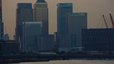 Panoramic view of North Greenwich, Canary Wharf, Emirates Airline and the Thames Footage