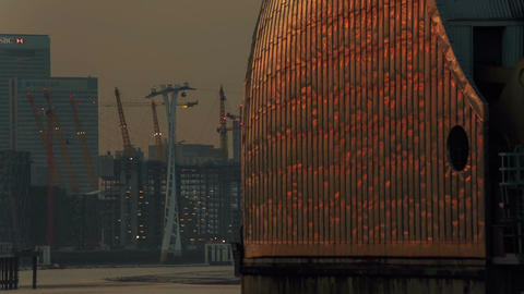 Late afternoon evening shot showing the North Greenwich Peninsula, Canary Wharf  Footage