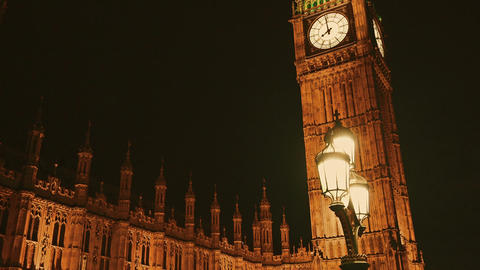 Gimbal shot of the Houses of Parliament and Big Ben at night Footage