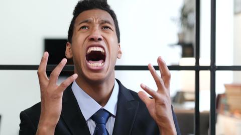Portrait of Screaming Upset Black Businessman Footage
