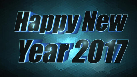 Happy New Year 2017 - 3D Blue Text Footage