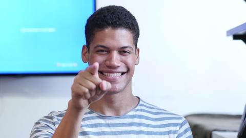 Black Man Pointing at Camera, Portrait Footage