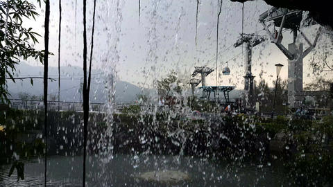 Behind the Waterfall at Zhinan Temple cable car station Live Action