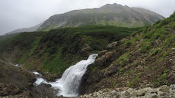 Summer mountain landscape: top view of picturesque waterfall Footage