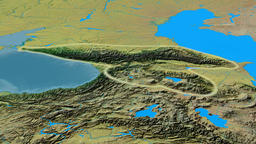 Revolution around Caucasus mountain range - glowed. Topographic map Animation