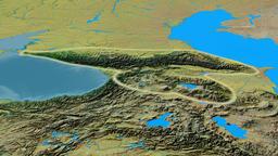 Revolution around Caucasus mountain range - glowed. Topographic map Animation
