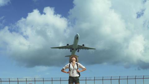 Happy Woman Enjoy Holiday Under Flying Plane Footage