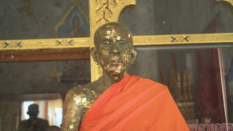 Aged Stone Statue Of Buddhist Monk Footage