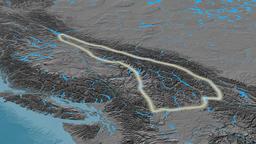 Revolution around Columbia mountain range - glowed. Elevation map Animation