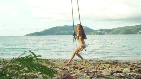Bikini Girl Relaxing On Tropical Beach Paradise Footage