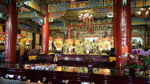 Interior of Zhinan temple on Maokong mountains Footage