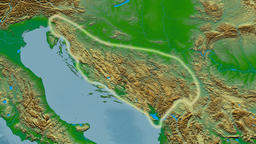 Zoom into Dinaric Alps mountain range - glowed. Colored physical map Animation