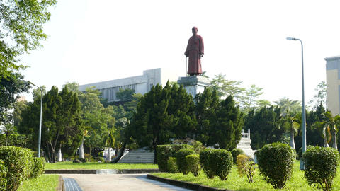 Statue of Lin Sen in Jieshou Park Taipei Footage