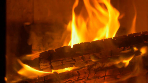Burning Wood Fire in Stove Footage