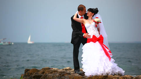 wedding couple near the sea Footage