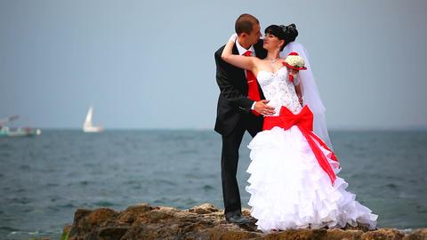 wedding couple near the sea Footage