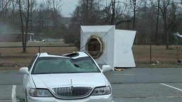 Tornado damage - church steeple crushes car Footage