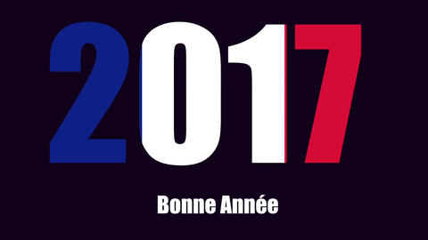 Happy New Year 2017 Greeting in French Language Footage