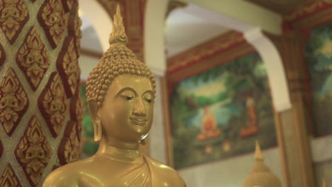 Golden Buddha Statue In The Monastery Footage