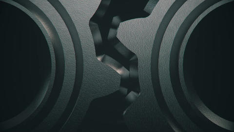 3D Metal Gears Rotating in Loop-5 Animation