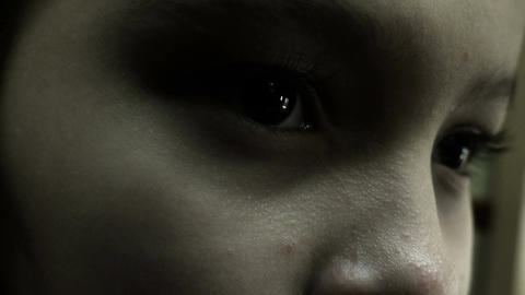 Close up girl looking pc horror Footage
