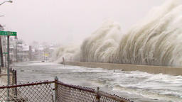 Blizzard huge waves crash into seawall Footage