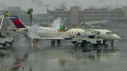 Airplane deicying Footage