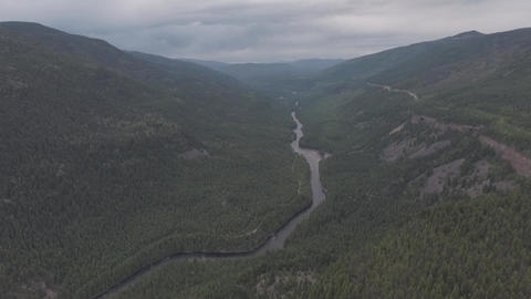 Aerial view of river in a valley of a forest Archivo