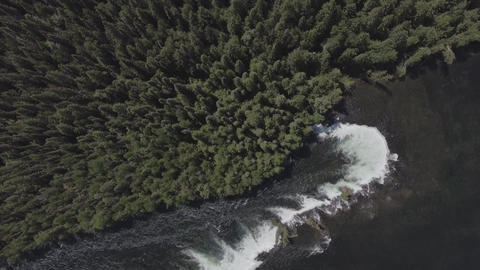 Top down aerial view of a waterfall in the forest Footage