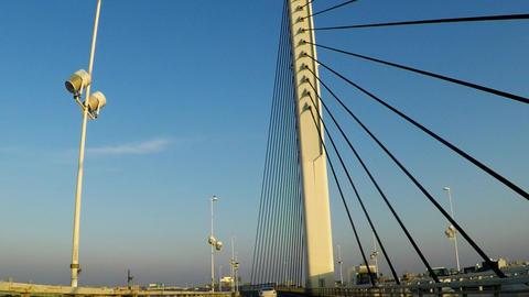 KATUSHIKA harp bridge on the Tokyo Metropolitan Expressway Footage