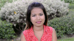 """Young Woman Greeting With a Thai """"Wai"""" Stock Video Footage"""