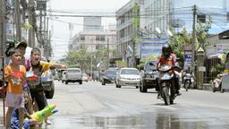 Children Splashing Passing Truck During Songkran Festival Stock Video Footage