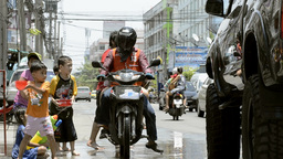 Children Splashing Passing Truck During Songkran Festival Stock Video Footage