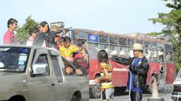 Songkran Water Fight a Truck Load of People Footage