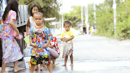 Children Enjoying A Songkran Water Fight In Thailand stock footage