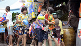 Children Enjoying a Songkran Water Fight in Thailand Footage