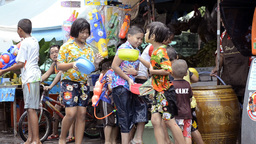 Children Enjoying a Songkran Water Fight in Thailand Stock Video Footage