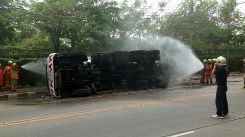 Gas truck - Firemen rescue Stock Video Footage