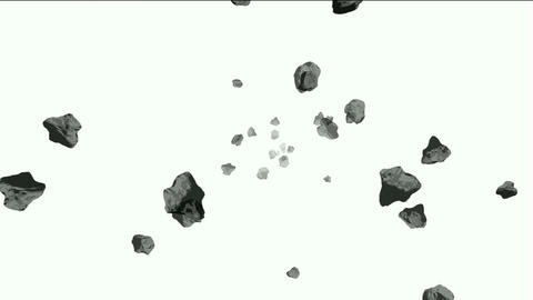 Meteorite tumbling and 3d rolling stone in cosmos Stock Video Footage