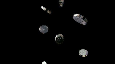 silver coin falling down Stock Video Footage