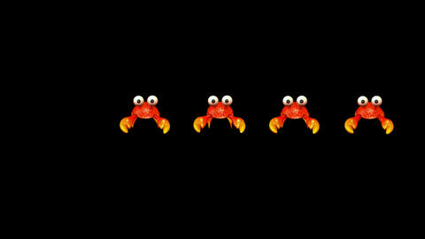 a group of cartoon crabs crawl Stock Video Footage