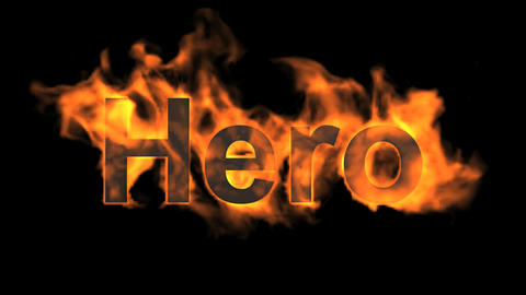 flame hero word,fire text Animation