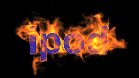 flame ipod word,fire text Animation